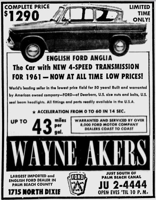 Wayne Akers Ford >> Ford Anglia 105E Saloon - Advert No 101
