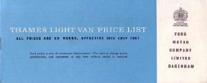 Van Price List