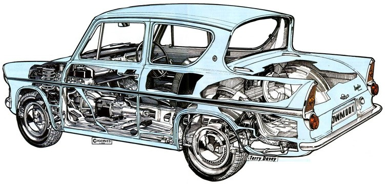 Ford Anglia 105e Technical Cutaway Drawings